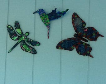 Mosaic dragonfly, hummingbird, butterfly.  Each piece sells separatley