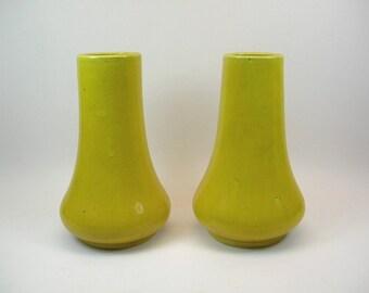 A Pair of Elegant Antique Japanese Lemon-Yellow Glazed Vases/Flower Vases