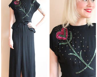 1940s Gown // My Rose, My Heart Rayon Crepe Gown // vintage 40s dress
