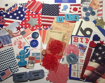 Red White and Blue Large Ephemera Pack Vintage Paper Vintage Embellishment Kits Journal Supplies Trims Patriotic Mixed Media Planner Supply