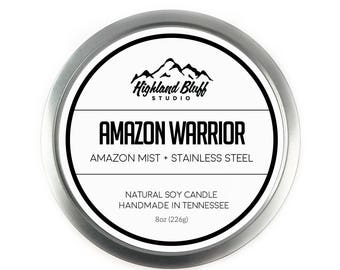 Amazon Warrior // Amazon Mist + Stainless Steel // 8oz Soy Candle