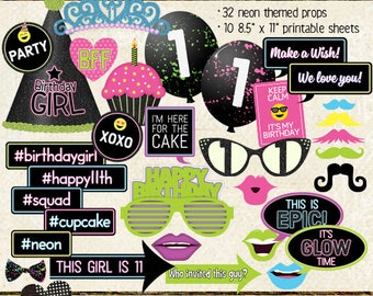 Photo Booth Props, HAPPY 11TH BIRTHDAY, girl, birthday party, glow, neon, black light, printable sheets, instant download, selfie station