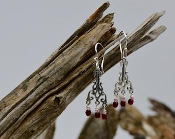 Sterling Silver and Ruby Garnet Earrings