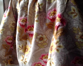 Vintage Floral Fabric, French Cotton Curtain Valance / French Pelmet/ 19C Antique French Fabric, Vintage Cotton Panel Home Furnishing