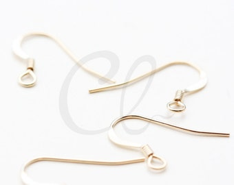 2pcs (1 Pair) 14K Gold Filled Earring Hooks - Ear Wire with Coil 16x14mm (6410)
