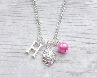 easter egg necklace, personalised easter jewellery, initial egg necklace, personalized gift for kids, present for children, Easter jewelry