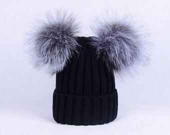 Fur Beanies Double Puffs Ball silver fox pompoms