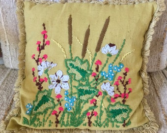 Boho Decor. Crewel Embroidery Throw Pillow. Boho Cottage. Fruit Tree. Sofa, Bed, Chair Accent.