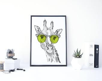 Giraffe Print, Funny Animal Art, Giraffe Art, Giraffe Head, Giraffe Decor, Printable Wall Art, Giraffe Poster, Giraffe Poster, Giraffe Gift