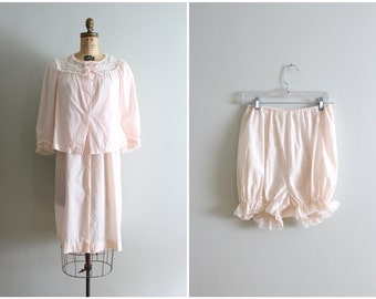 pale pink dotted swiss Barbizon 3 piece set - nightie, bed jacket & bloomers / 50s Barbizon - 1960s nightgown set / pastel lolita