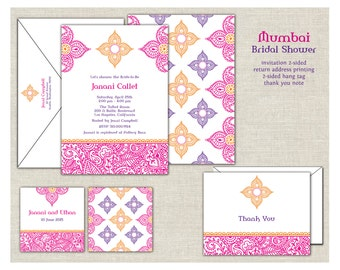 Indian Bridal Shower Invitation, Fuchsia and Gold Shower Invite, Indian Theme, Moroccan, Middle East, Mehndi, India