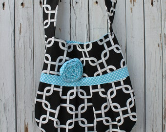 Black and Turquoise Pleated Bag, Pleated Bag with a Shoulder Strap, Shoulder Strap Tote, Gift Idea, Gift for Her, Ready to Ship