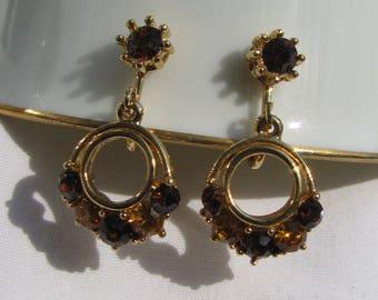 Retro Chocolate Brown and Amber Rhinestone Gold Dangling Petite Hoop Earrings, Clip Backs