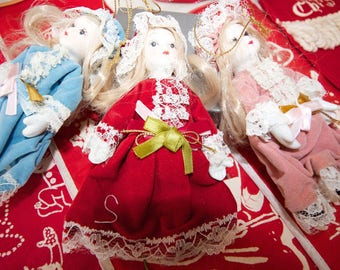 Vintage Christmas Doll Ornaments
