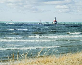Lighthouse Photo, Photography Print, Nautical Print, Lake Michigan Art, Coastal Home Decor, Summer Art, Fine Art Print, Cindy Taylor Print