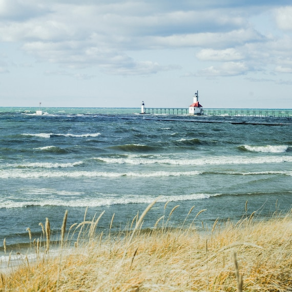 Lighthouse Photo, Photography Print, Nautical Print, Lake Michigan Art, Coastal Home Decor, Summer Art, Fine Art Print, Cindy Taylor Print