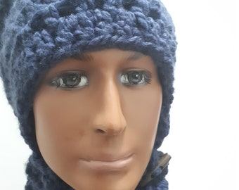 Double knit Hat with Neck Warmer