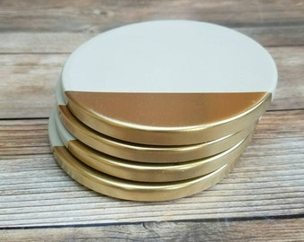 Gold Tipped concrete coasters, Cement Coasters, Beton Coasters, Modern Coasters, Set of 4