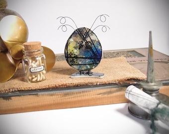 Owl Decor Fused Glass Mixed Media Handmade Original Art Bird Home Decor Figurine