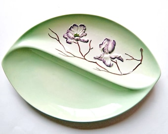 Carlton Ware, Teal and Purple Magnolia Design Bi divided Dish