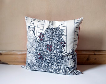 Bear, Girl and Raspberries cushion in Black, Pink and White COVER ONLY pillow