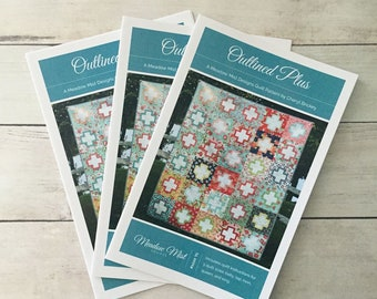 Outlined Plus - a Printed Quilt Pattern - 5 sizes - Baby, Lap, Twin, Queen, and King Sizes