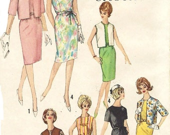1960s Womens Shift Dress and Waist Length Jacket with Variations Simplicity Sewing Pattern 4842 Size 18 Bust 38 Seven Day Ensemble