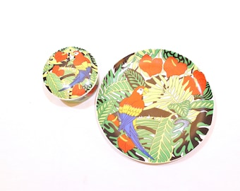 Vintage MACAW Parrot COPA San Franciso Takakashi Plate and Dish with Lid Set