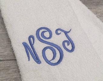 Curls 3 Letter Monogrammed Sweat Towel, Gym Towel, Sports Towel, Monogrammed Hand Towel