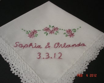 wedding handkerchief, bridal gift, hand embroidered,bouquet wrap, names and dates, personalized,wedding colors welcome