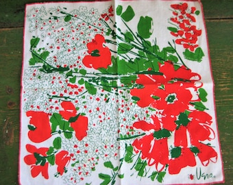 Set of Two Vintage Vera Neumann Napkins with Red and Green Flowers EXC