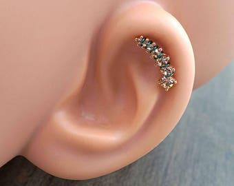 14kt Rose Gold Cartilage Earring Cartilage Stud Champagne Cascading Crystals
