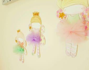 set of 3 wall fairies
