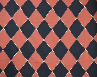 Jay Yang Fabric Vintage Fabric Black and Red Rust Orange Diamond Geometric Heavy Cotton Upholstery Pillows Hangbags