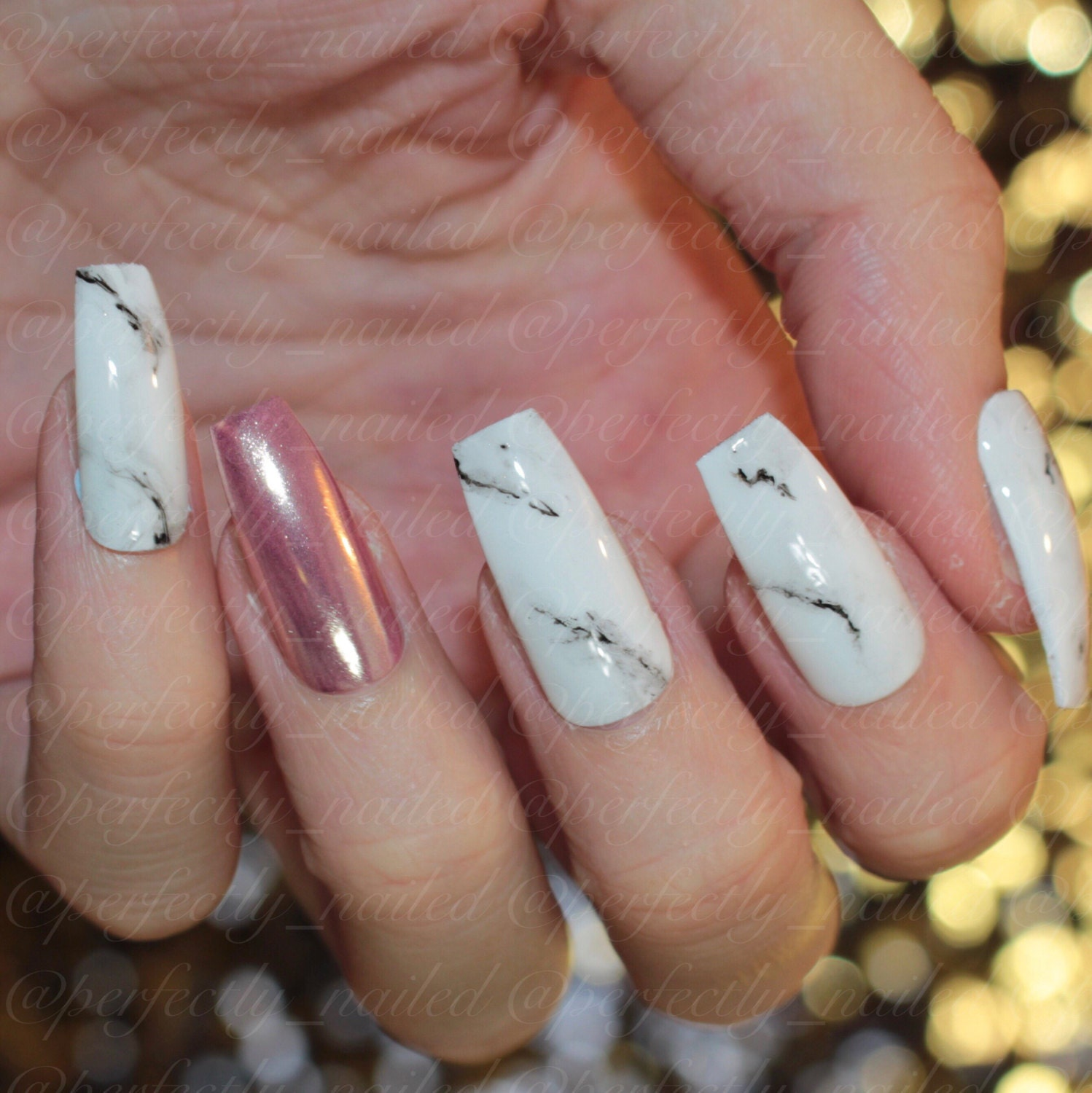 Rose Gold chrome and Marble effect gel nails • Handpainted False ...