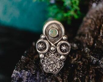 Geometric Ring, Boho Jewelry, Boho Ring, Sterling Silver Shield Ring, Ethiopian Opal Ring, Bohemian Ring, Opal Ring, Raw Stone Ring