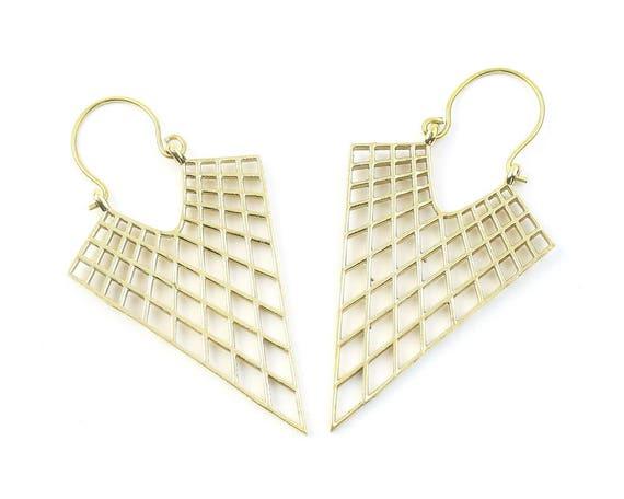 Itahari Geometric Brass Earrings, Silver Diamond Earrings, Alchemy Earrings, Minimalist, Modern Earrings, Festival, Gypsy Earrings, Ethnic,