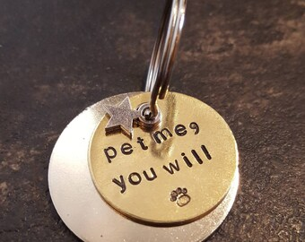 Pet me, you will Star Wars Yoda inspired pet dog ID tag