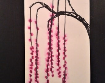 Weeping cherry blossom painting India ink on rice paper