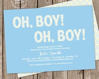 Sports boy baby shower invitation digital printable or twin boys baby shower invitation digital printable or printed free back design any color filmwisefo Images