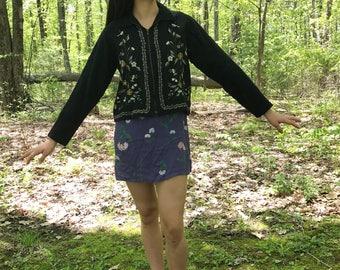 Vintage Black Wool Embroidered Floral Jacket