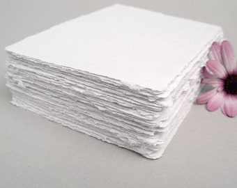 White handmade paper, recycled, deckle edge, 10 sheets, 3.5x5 inch
