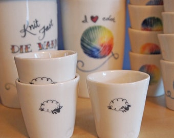 Shot glass for knitters with a little sheep