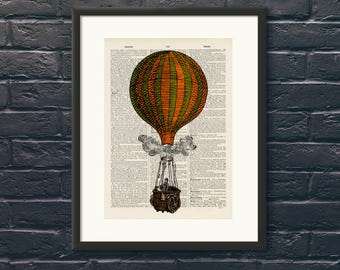 Striped Hot Air Balloon 15 - Upcycled vintage Steam Punk image printed on an Antique Dictionary page Wall Art