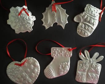Christmas Ornaments Set of 6 Made from Aluminum Soda Cans