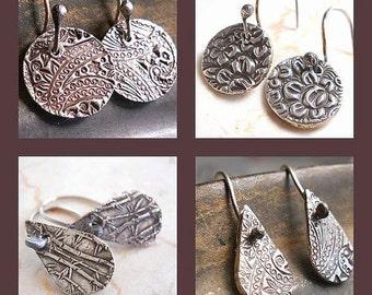 Handmade Petite  Sterling Silver ROUND or TEARDROP Earrings,  Reversible .  Two for One . Hand Wrought Earwires, Jewellery, Yourdailyjewels