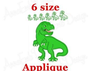 T-Rex Dinosaur Applique embroidery design. Tyrannosaurus Applique embroidery design. Dinosaur embroidery.  Machine embroidery design.