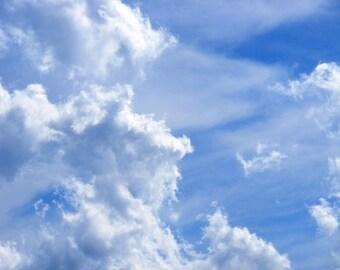 Crash - Nature Photograph - Clouds in Blue Sky - 4x6, 5x7, 8x10, 11x14, 16x20