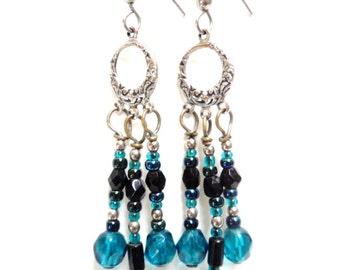 Vintage Blue Glass Dangling Earrings for Pierced ears