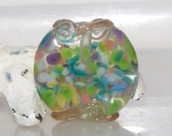 Carnival Sprinkle Lampwork Glass Bead with Goldstone Swirls